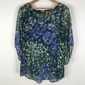 ANTHROPOLOGIE | FEI silk blouse floral blue 0684